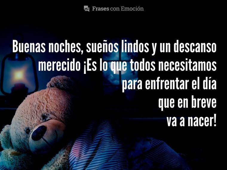 Buenas noches, sueños lindos y...