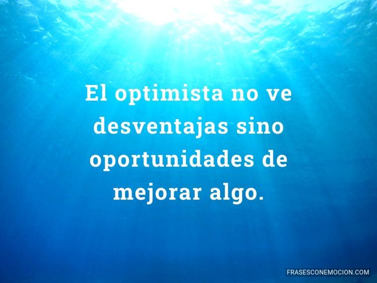 El optimista no ve desventajas...