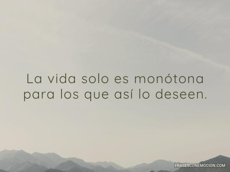 La vida solo es monótona...