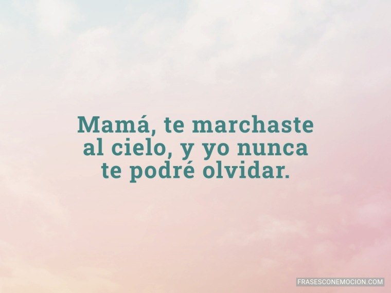 Mamá, te marchaste...