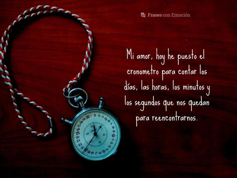 Mi amor, hoy he puesto el cronometro...