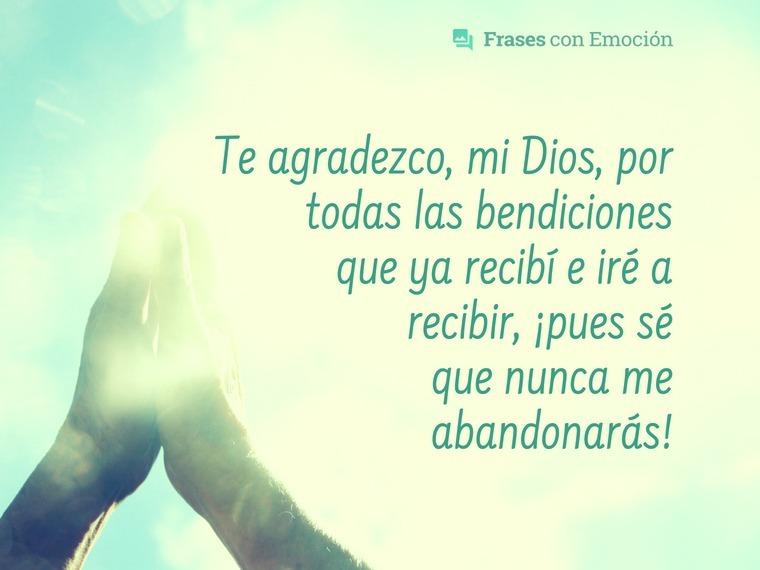 Te agradezco mi Dios...