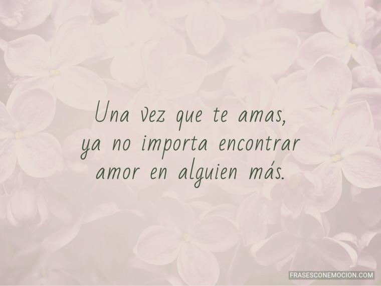 Una vez que te amas...